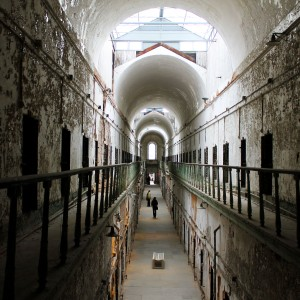 Visitors walk through Eastern State Penitentiary.